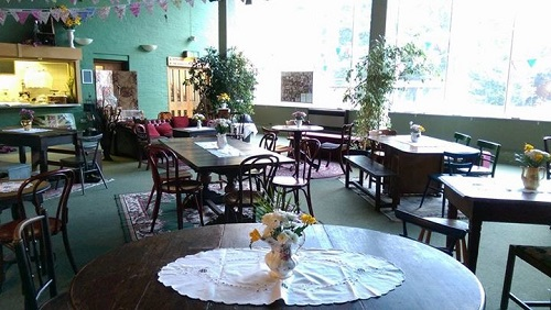 Tables and chairs in our vintage tearoom